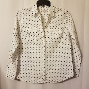 Talbots Linen Polka Dot Long Sleeve Shirt
